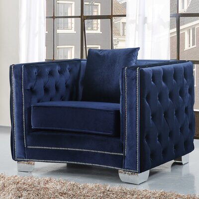 Creekside Velvet Club Chair Upholstery: Navy