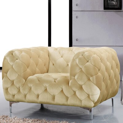 Riverside Velvet Club Chair Upholstery Color: Beige