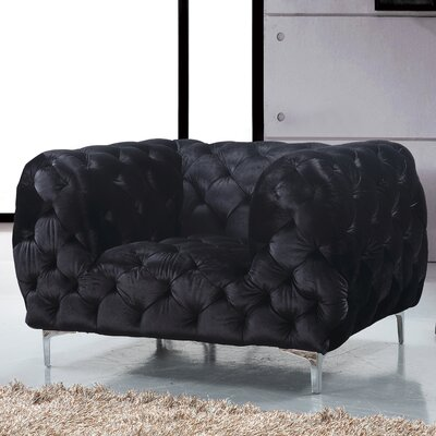 Riverside Velvet Armchair Upholstery: Black