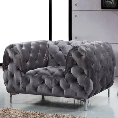 Riverside Velvet Club Chair Upholstery Color: Grey