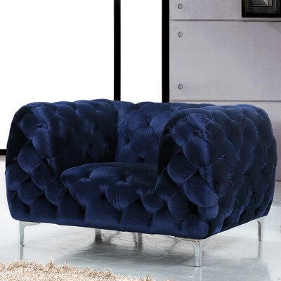 Riverside Velvet Armchair Upholstery Color: Navy