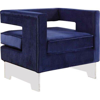Evergreen Velvet Armchair Upholstery Color: Navy