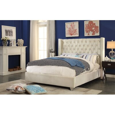 Inverness Upholstered Platform Bed Size: Twin, Color: Cream