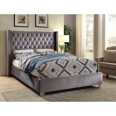 Inverness Upholstered Platform Bed Size: Twin, Color: Grey