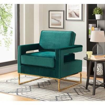 Canterbury Armchair Upholstery: Green, Finish: Gold