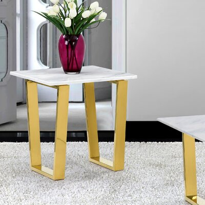 Germana End Table Table Base Finish: Gold