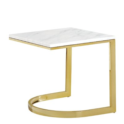 Brookside Marble End Table Table Base Color: Gold