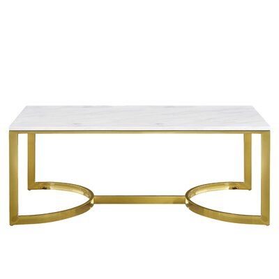 Brookside Marble Coffee Table Table Base Color: Gold