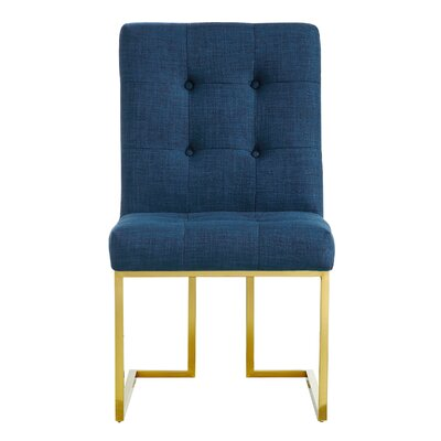 Somerset Linen Parsons Chair Upholstery: Navy