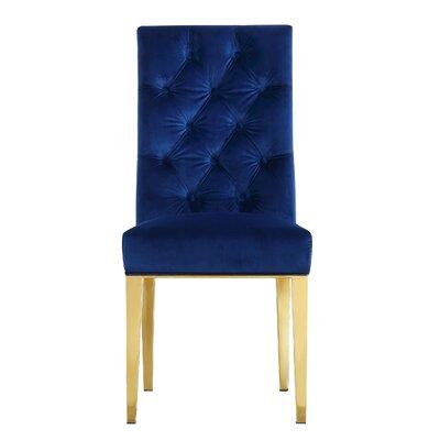Woodland Velvet Parsons Chair Upholstery: Navy