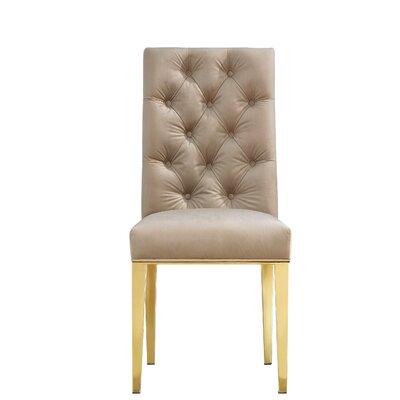 Woodland Velvet Parsons Chair Upholstery: Beige
