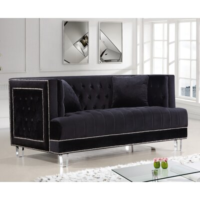Hettie Chesterfield Loveseat Upholstery: Black