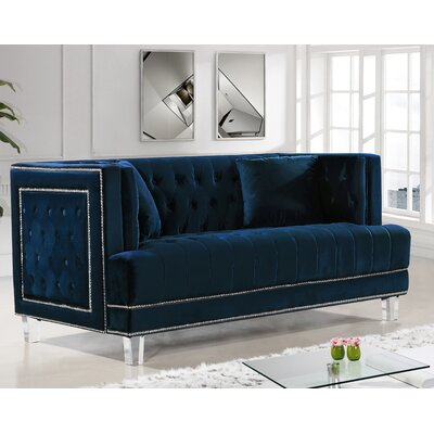 Hettie Chesterfield Loveseat Upholstery: Navy