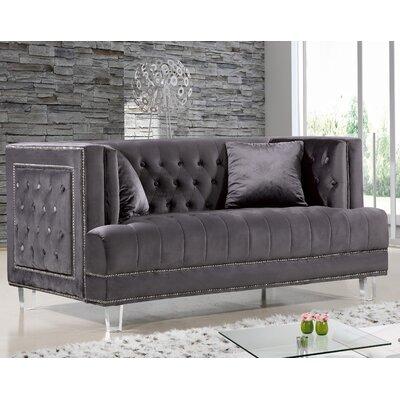 Hettie Chesterfield Loveseat Upholstery: Gray