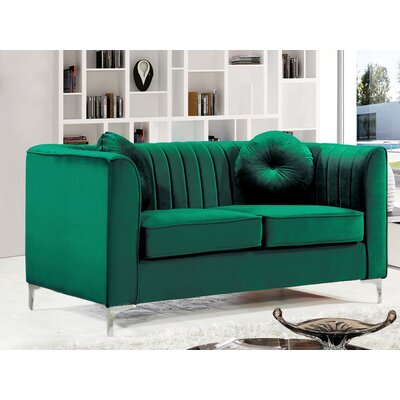 Herbert Chesterfield Loveseat Upholstery: Green