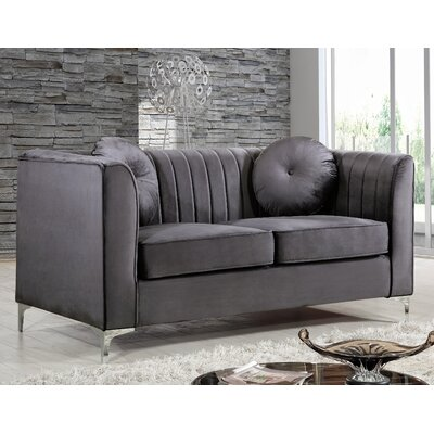 Herbert Chesterfield Loveseat Upholstery: Gray