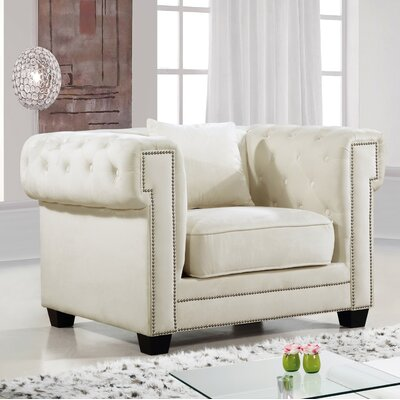 Hilaire Chesterfield Chair Chair Upholstery: Cream