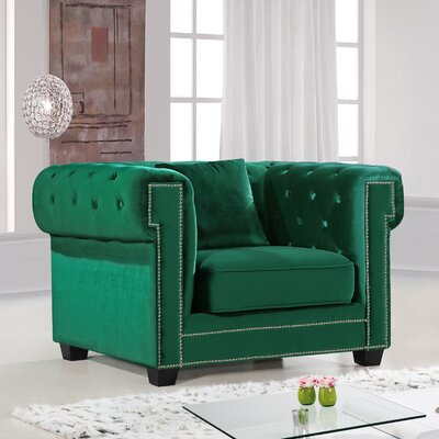 Hilaire Chesterfield Chair Chair Upholstery: Green