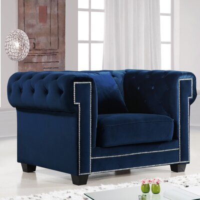 Hilaire Chesterfield Chair Chair Upholstery: Navy
