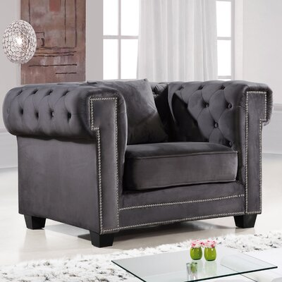 Kennedy Chesterfield Chair; Barrel Chair Upholstery: Gray