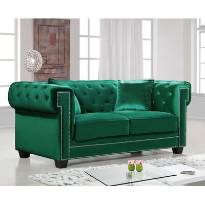 Hilaire Chesterfield Loveseat Upholstery: Green