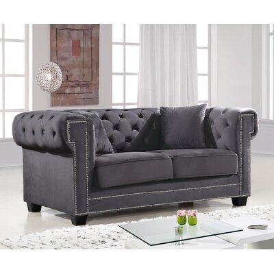 Hilaire Chesterfield Loveseat Upholstery: Gray