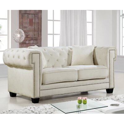 Hilaire Chesterfield Loveseat Upholstery: Cream