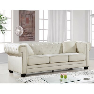Hilaire Chesterfield Sofa Upholstery: Cream