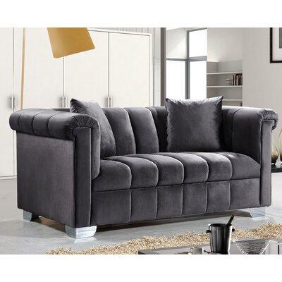 Henriette Chesterfield Loveseat Upholstery: Gray