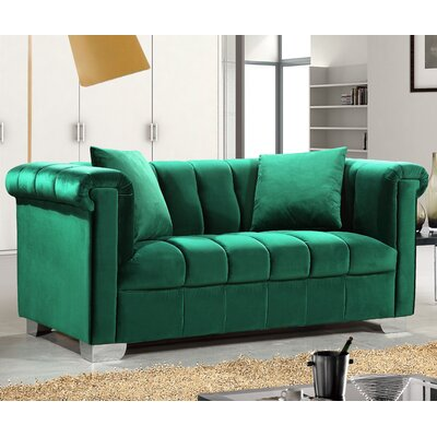 Henriette Chesterfield Loveseat Upholstery: Green