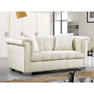 Henriette Chesterfield Loveseat Upholstery: Cream