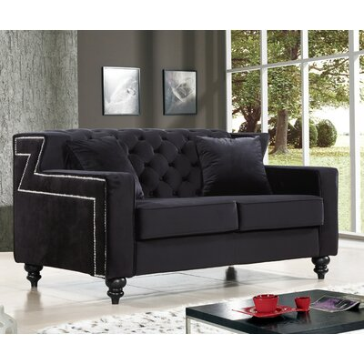 Honore Loveseat Upholstery: Black
