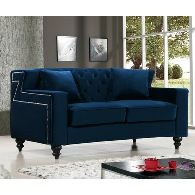 Honore Loveseat Upholstery: Navy