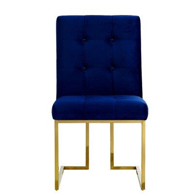 Edgewood Velvet Parsons Chair Upholstery: Navy