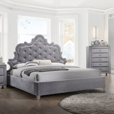 Spence Velvet Upholstered Platform Bed Size: King