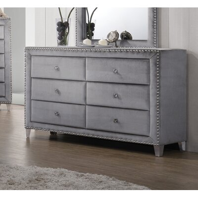 Spence Velvet 6 Drawer Dresser with Mirror