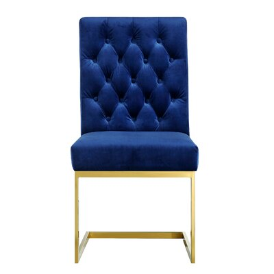 Walnut Velvet Parsons Chair Upholstery: Navy