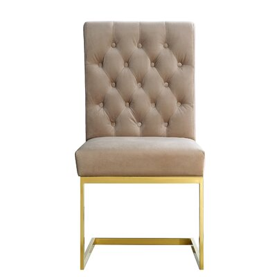 Germana Velvet Parsons Chair Upholstery: Beige