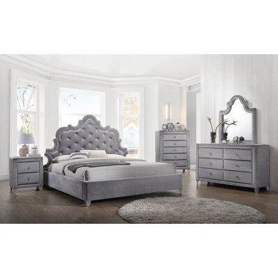 Spence Velvet Platform Configurable Bedroom Set