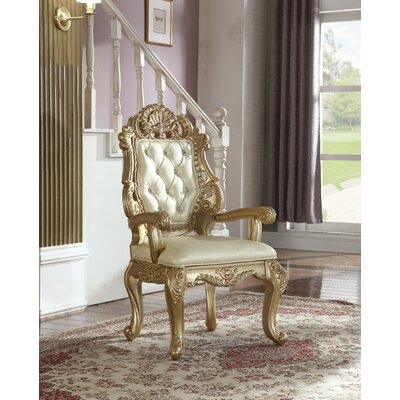 Bachus Tufted Genuine Leather Upholstered Dining Chair