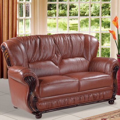 Abbey Loveseat Upholstery: Brown