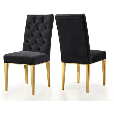 Woodland Velvet Dining Chair Upholstery: Black