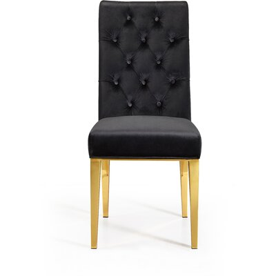 Woodland Velvet Parsons Chair Upholstery: Black
