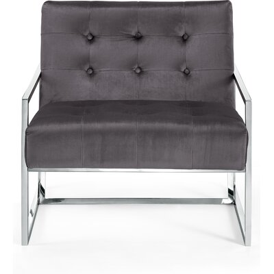 Jani Armchair Upholstery: Gray, Finish: Chrome