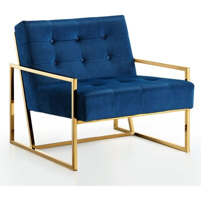 Jani Armchair Upholstery: Navy, Finish: Gold