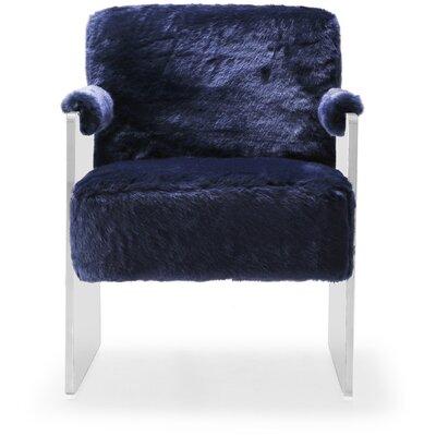 Pamella Fur Armchair Upholstery: Navy