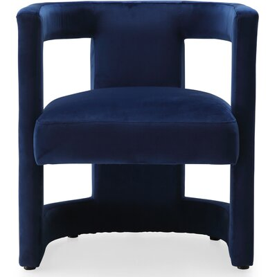 Loren Velvet Barrel Chair Upholstery: Navy