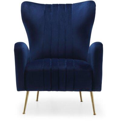Pamila Velvet Wingback Chair Upholstery: Navy