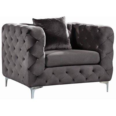 Patrina Velvet Armchair Upholstery: Gray