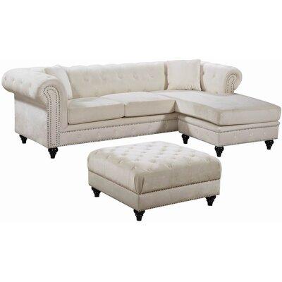 Paulita Reversible Sectional Upholstery: Cream